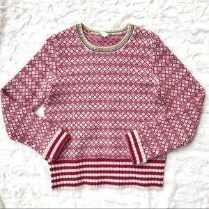 Vintage J.Crew Red Fair Isle Wool Crewneck Sweater